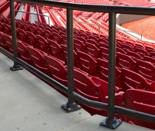 Series 500 Pipe Railing anchored using base mounts at a minor league baseball stadium.