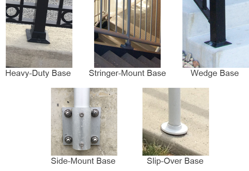 Identification of several different types of aluminum railing post bases