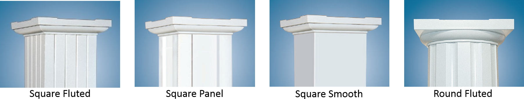 Four different aluminum column profiles