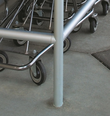 Series 500 Railing embedded into concrete.