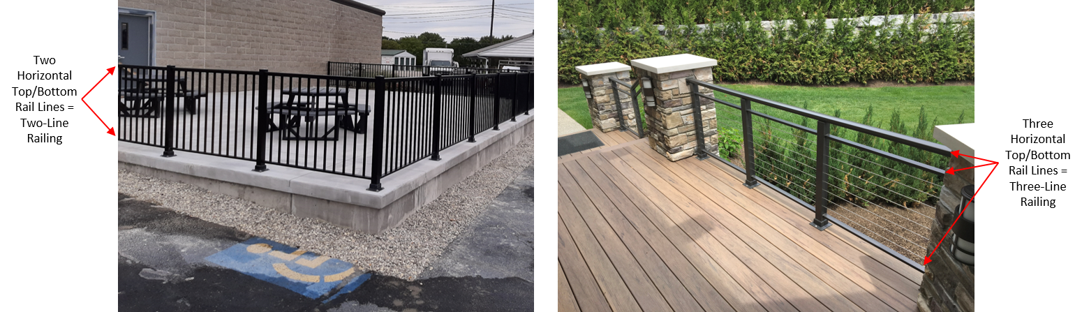 A comparison of two-line and three-line aluminum railing