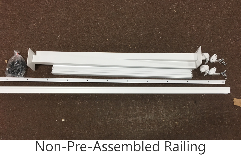 The contents of a typical unassembled railing kit
