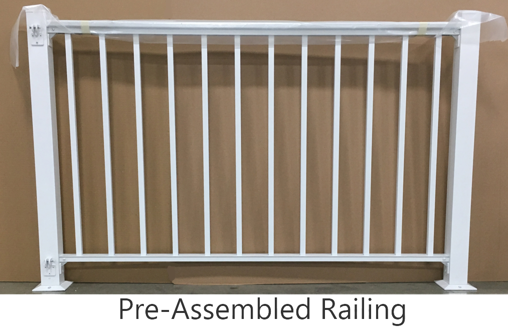 A pre-assembled, ready to install aluminum railing section